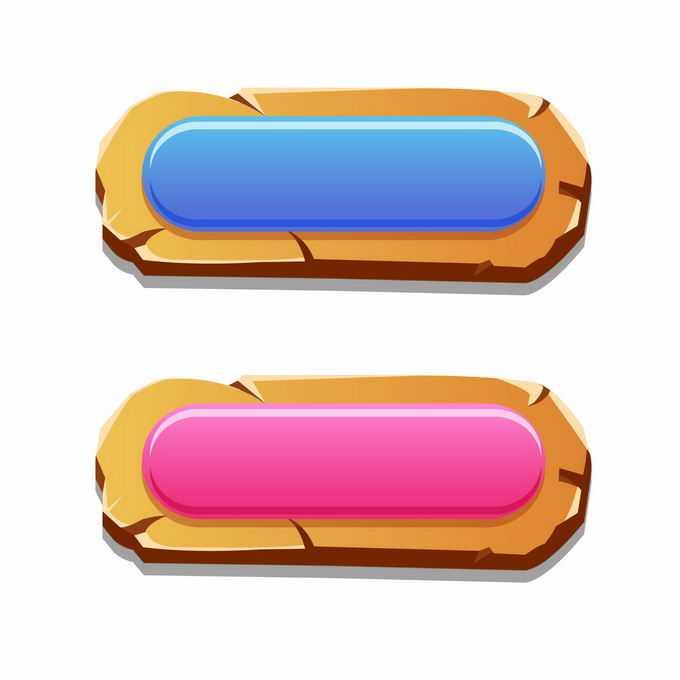 蓝色和红色木板描边风格的游戏水晶按钮5575028矢量图片免抠素材免费下载