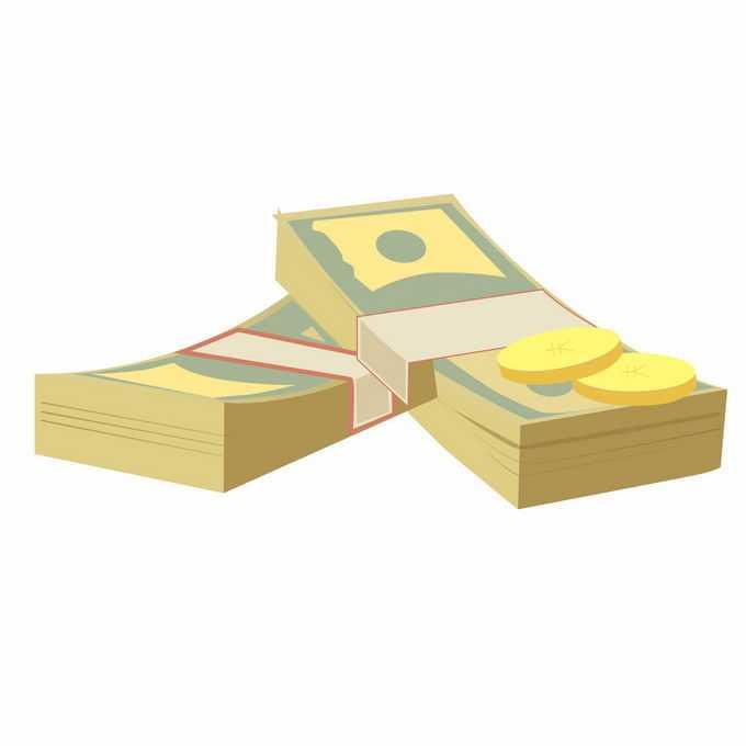 两沓扁平化分割的美元钞票和硬币金币1961654矢量图片免抠素材