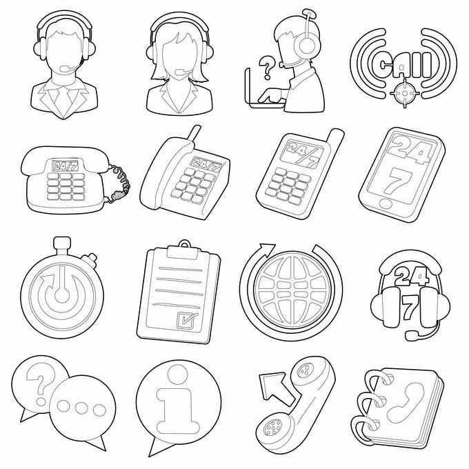 卡通客服电话互联网聊天等素描写实图标7140299矢量图片免抠素材免费下载