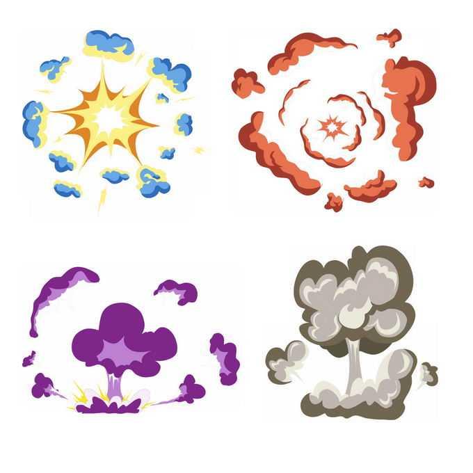 4种卡通漫画风格的彩色爆炸效果4145651矢量图片免抠素材