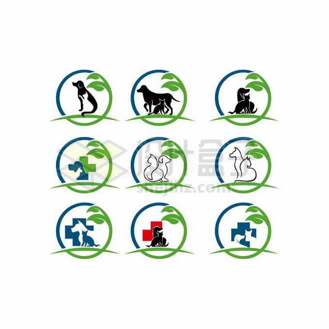 9款绿色圆环猫咪和狗狗创意宠物医院标志logo设计8429297矢量图片免抠素材