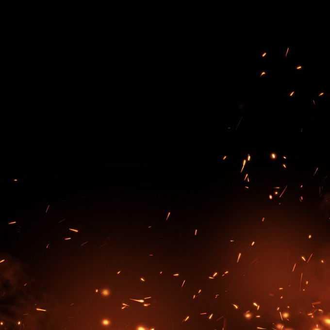 燃烧火焰灰烬中飞舞的火星子火花效果6721466免抠图片素材