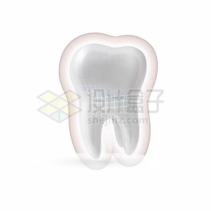 3D立体洁白的牙齿发光效果以及白色格子线牙齿保健8701473矢量图片免抠素材