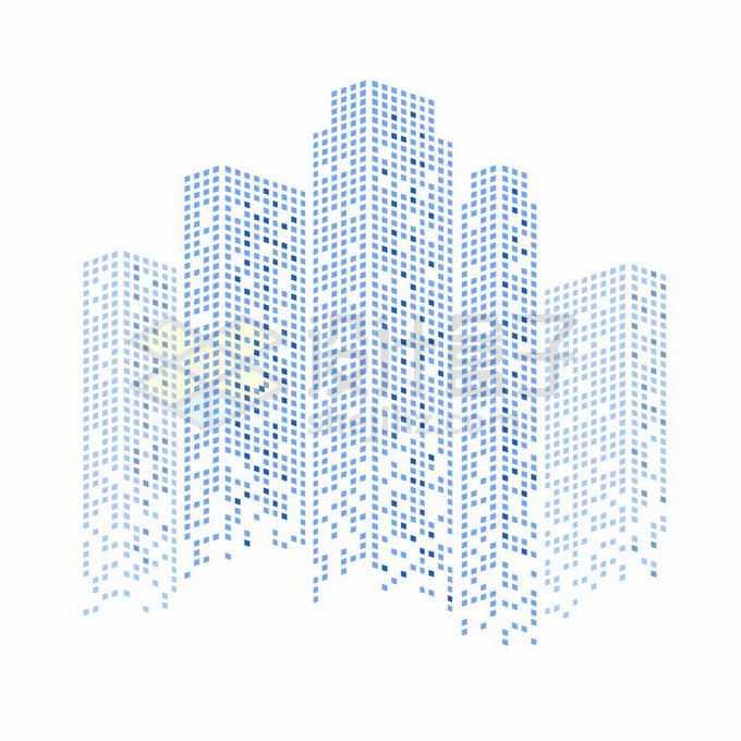 蓝色方块组成的城市天际线高楼大厦建筑图案1767095矢量图片免抠素材