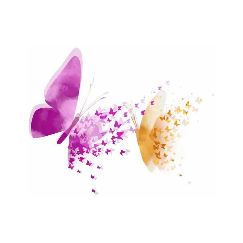 2只紫色和黄色蝴蝶抽象图案3040979免抠图片素材