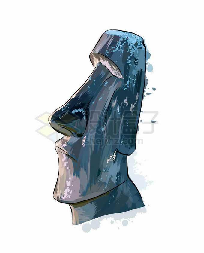 一尊复活节岛石像摩艾手绘插画6957189矢量图片免抠素材