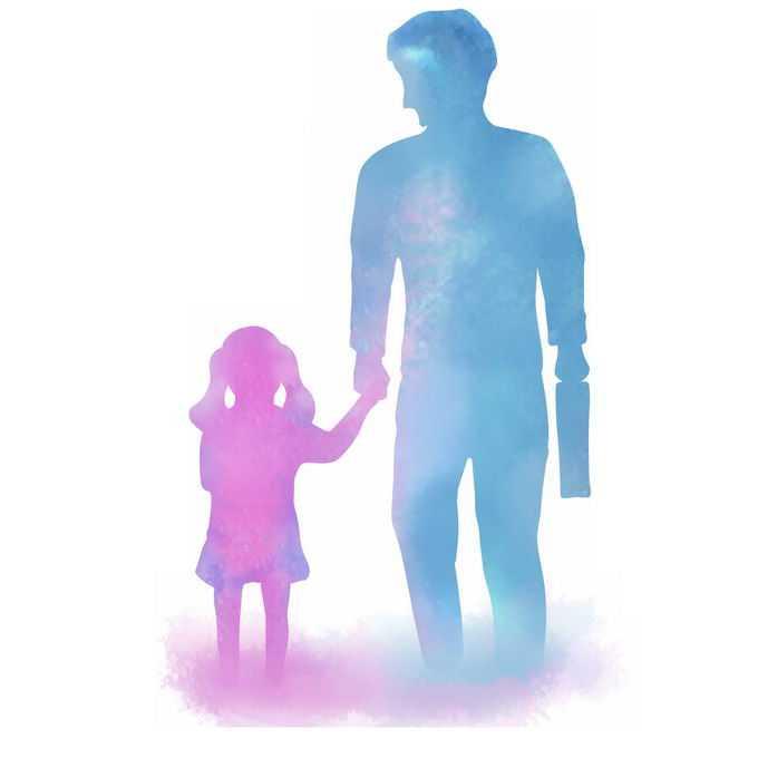 父亲节爸爸牵着女儿的手背影水彩画插画9686102矢量图片免抠素材