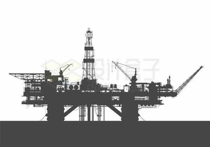 海上庞大的钢铁城市石油钻井平台工业剪影1272151矢量图片免抠素材免费下载
