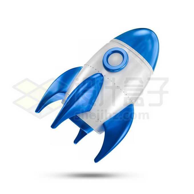 3D立体蓝白色卡通火箭1912648免抠图片素材免费下载