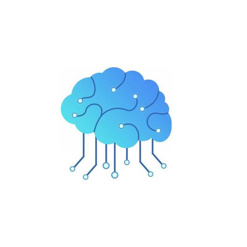 蓝色渐变色风格科技电子大脑人工智能技术2773368免抠图片素材