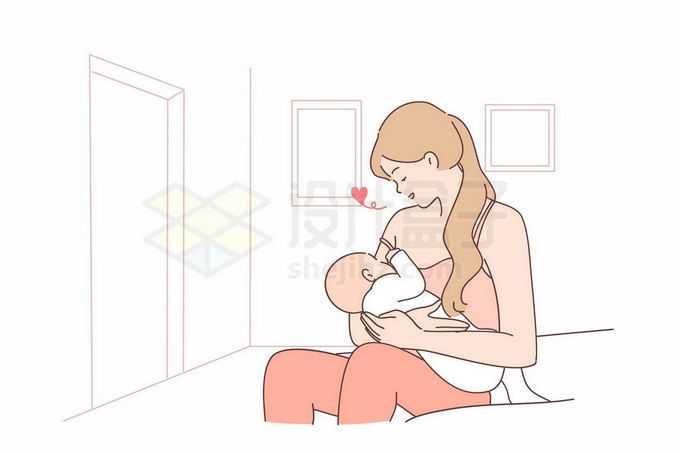 卡通妈妈正在给婴儿喂奶手绘线条插画9598853矢量图片免抠素材免费下载