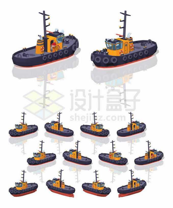 不同角度的3D立体黑色拖船救援船5262126矢量图片免抠素材