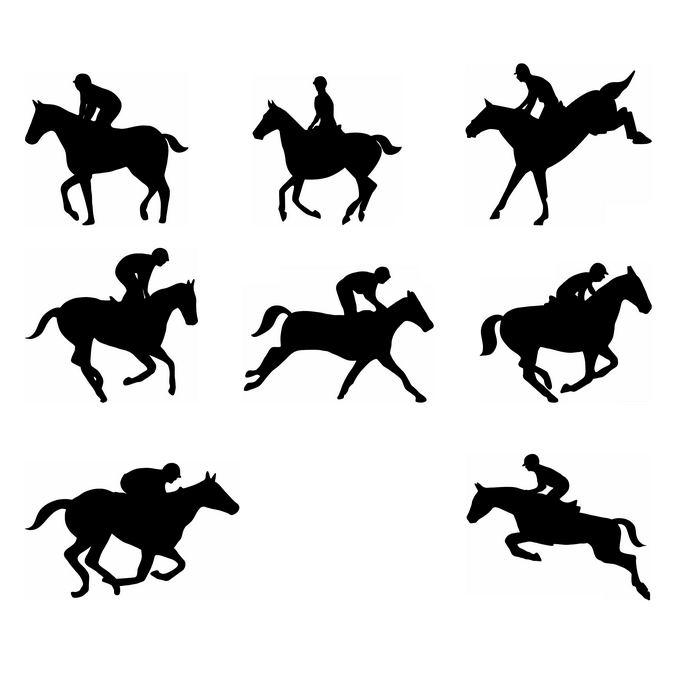 8款马术骑马运动员奥运会人物剪影7447749免抠图片素材 人物素材-第1张