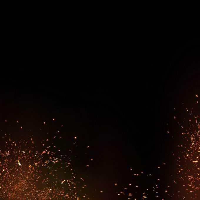 燃烧火焰灰烬中飞舞的火星子火花效果8444079免抠图片素材