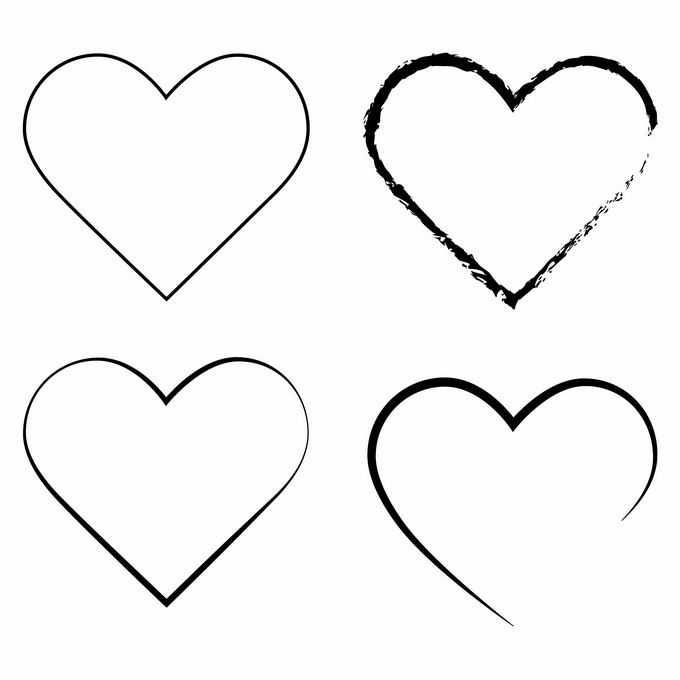 4款线条涂鸦风格黑色心形图案6290383矢量图片免抠素材免费下载