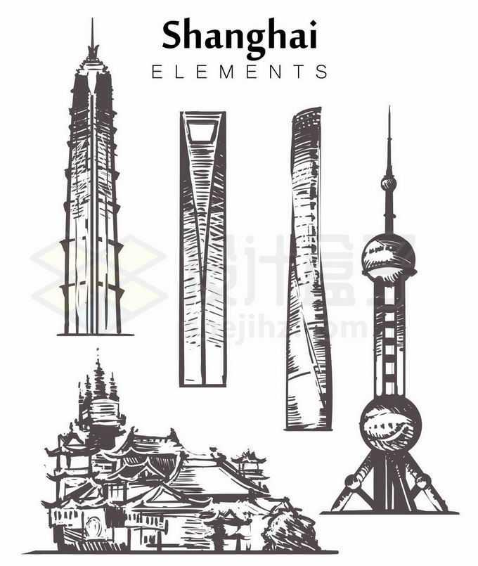 黑色线条东方明珠塔中心大厦环球金融中心等上海地标建筑手绘插画1322083矢量图片免抠素材免费下载