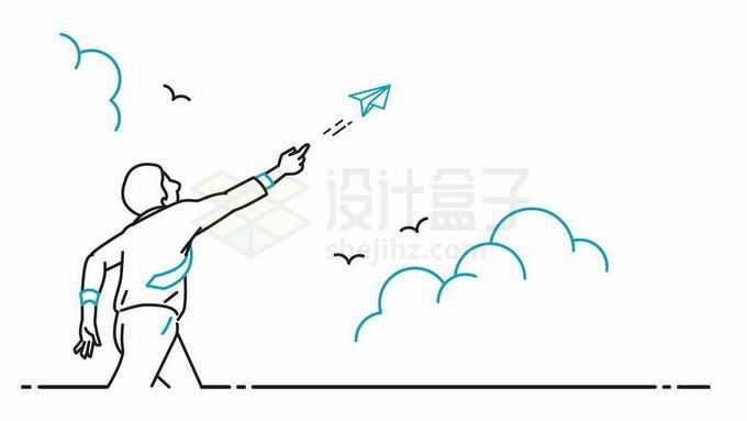 黑色绿色线条组成的少年抛出纸飞机象征了放飞梦想5565537矢量图片免抠素材免费下载