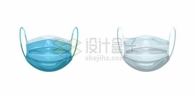 蓝色和白色的一次性医用口罩6042633矢量图片免抠素材免费下载