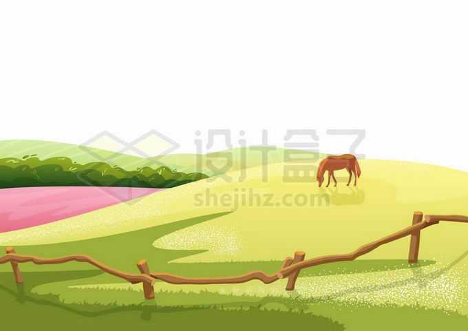 草原上农场里在青草地上吃草的骏马风景9683107矢量图片免抠素材免费下载
