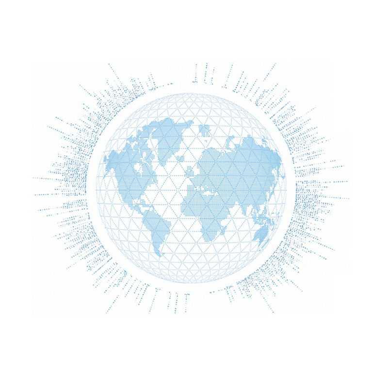 科技风格蓝色小圆点组成的地球世界地图9743125免抠图片素材