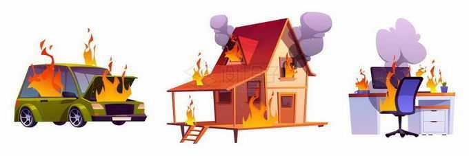 着火的汽车房子和办公桌象征了各种火灾事故3138516矢量图片免抠素材免费下载