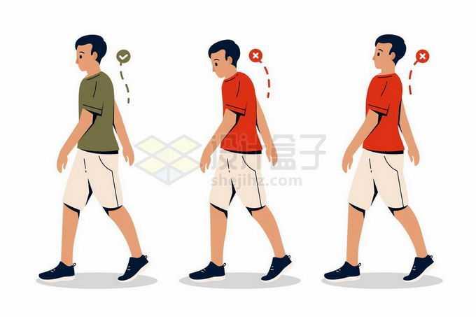 正确和错误的走路姿势行走姿势校正手绘插画3796664矢量图片免抠素材