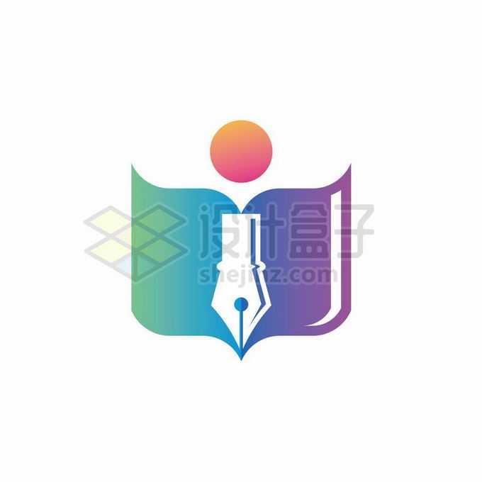 渐变色风格打开的书本和钢笔头创意教育培训机构标志logo设计1345363矢量图片免抠素材