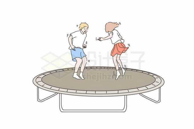 2个卡通小朋友正在蹦床上玩耍手绘线条插画1974713矢量图片免抠素材免费下载