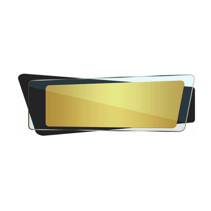 金色黑色玻璃风格不规则四边形多边形标题框文本框信息框5527514免抠图片素材