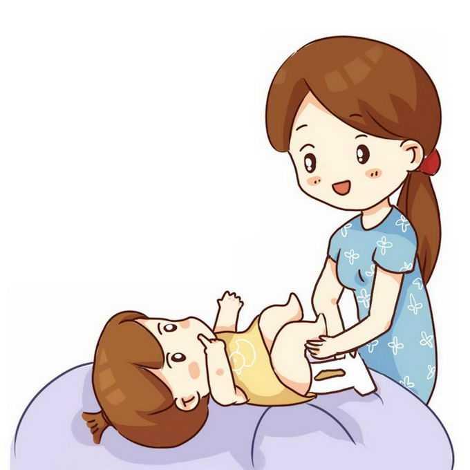 卡通妈妈正在给宝宝换尿布尿不湿9509028免抠图片素材