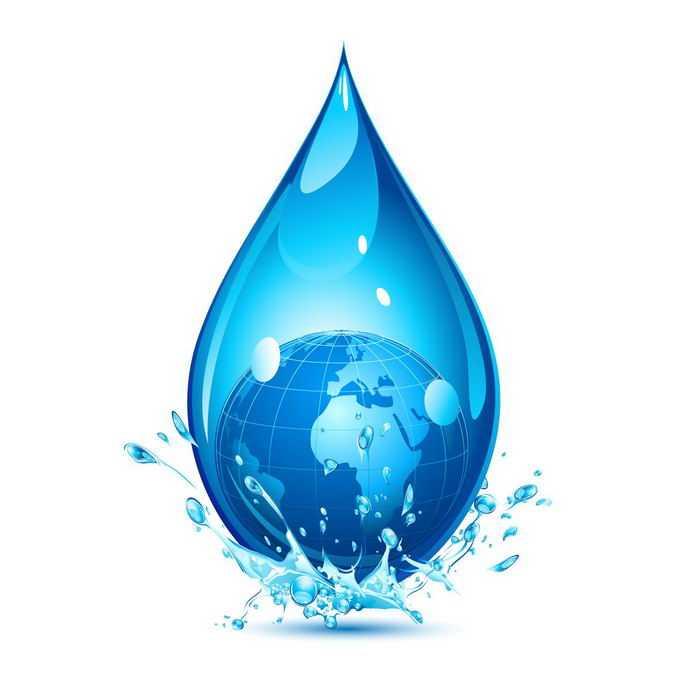 一滴水蓝色水滴中的地球保护地球水资源节约用水插画4831071png免抠图片素材