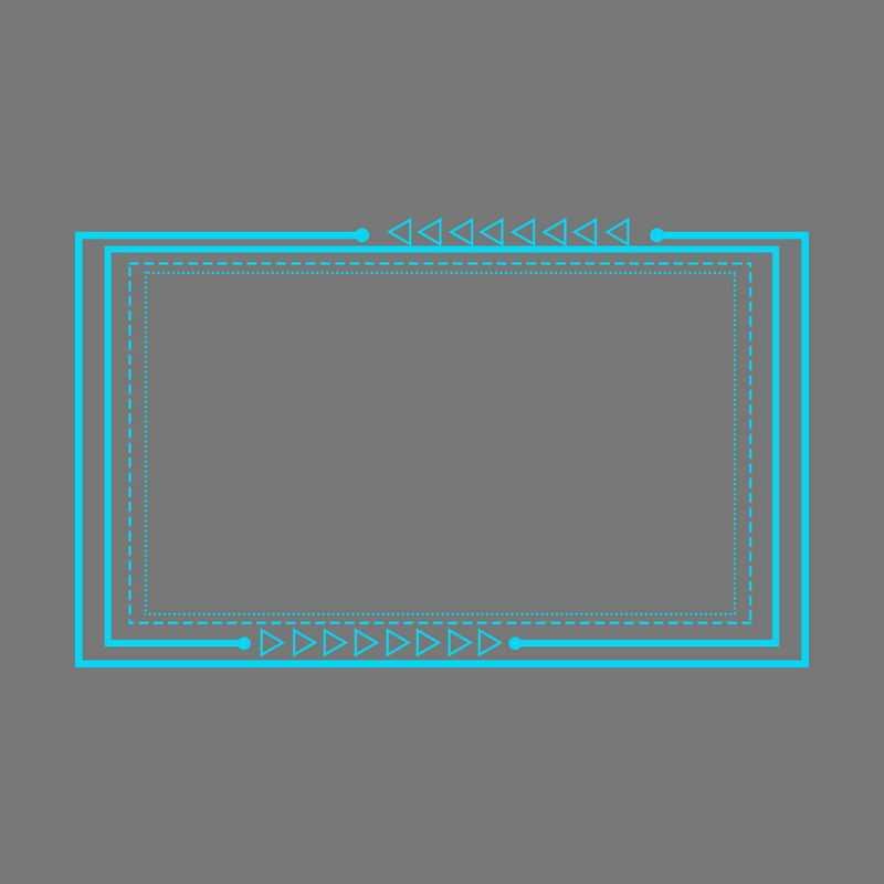 科技风格蓝色线条三角形箭头组成的文本框边框6437819免抠图片素材
