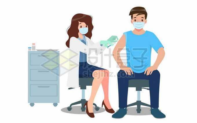 卡通女医生正在给病人打针注射疫苗医疗插画2794584矢量图片免抠素材免费下载