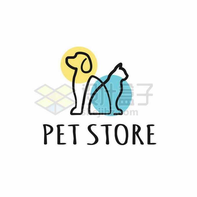 线条猫咪和狗狗创意宠物logo标志设计4210668矢量图片免抠素材