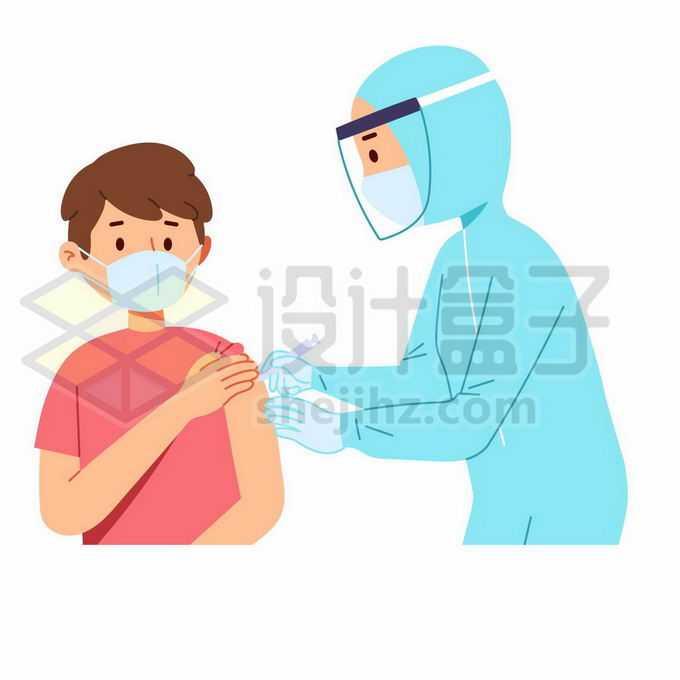 撸起袖子正在接受医生新冠疫苗注射打针手绘卡通插画6121778矢量图片免抠素材免费下载