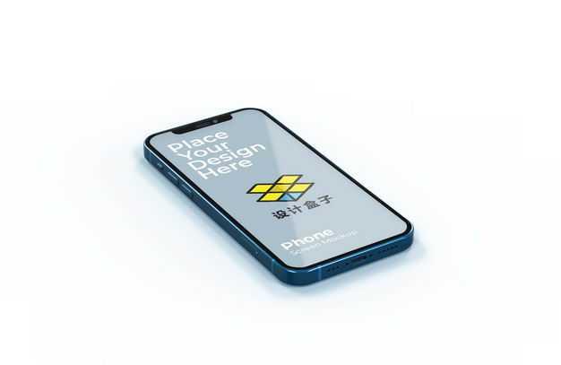 蓝色苹果iPhone12手机屏幕显示样机3832464图片素材