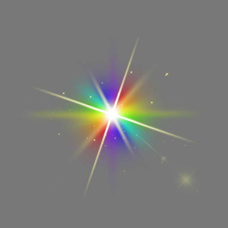 彩色光线星光绚丽发光光照光晕效果5172582免抠图片素材