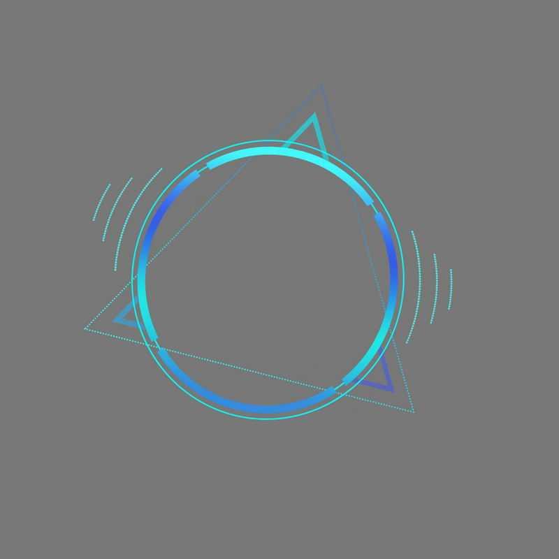科技风格蓝色圆形和三角形组成的文本框边框2350174免抠图片素材