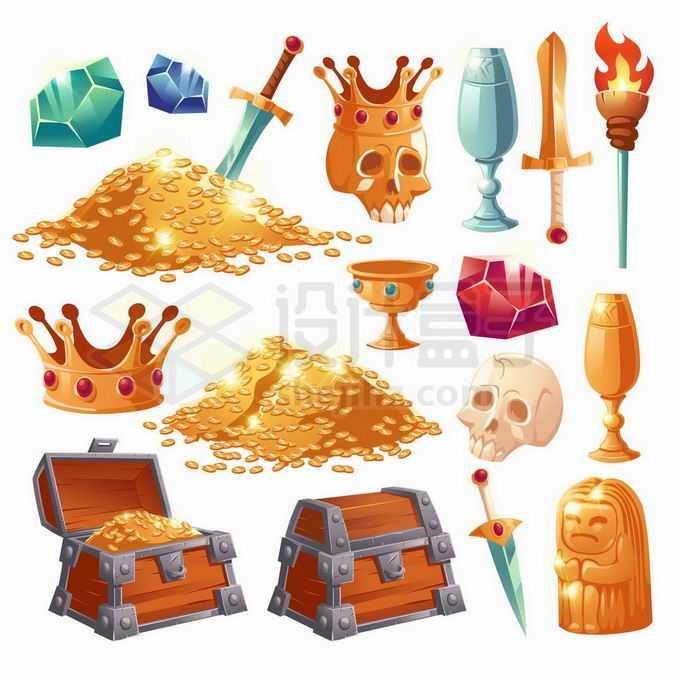 宝石金币皇冠酒杯宝剑火把宝物箱石像等游戏道具UI元素2792963矢量图片免抠素材