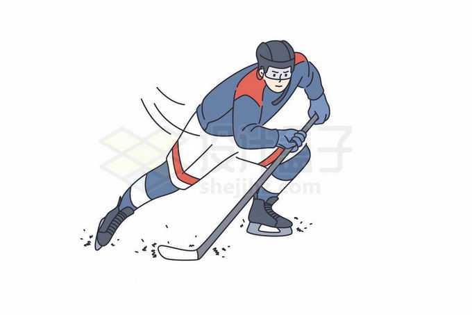 打冰球的运动员手绘线条插画5606618矢量图片免抠素材免费下载