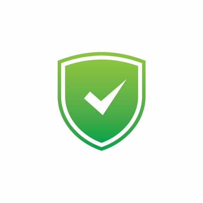 中间有一个对号的绿色盾牌网络安全图标7989559矢量图片免抠素材免费下载