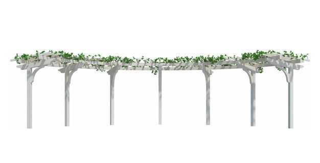 爬满了绿色植物藤蔓的白色花园廊架花架4267745免抠图片素材
