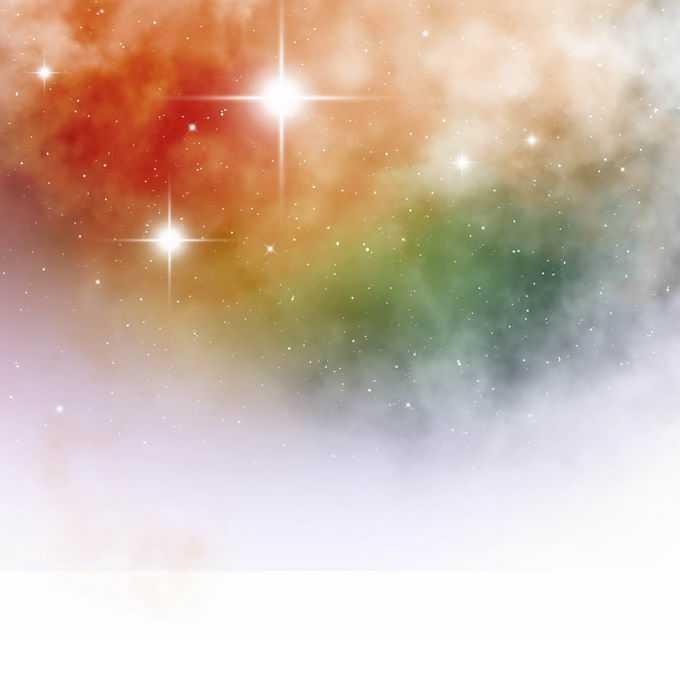 绚丽的红色黄色绿色星空星云和繁星点点星光效果装饰1886402矢量图片免抠素材