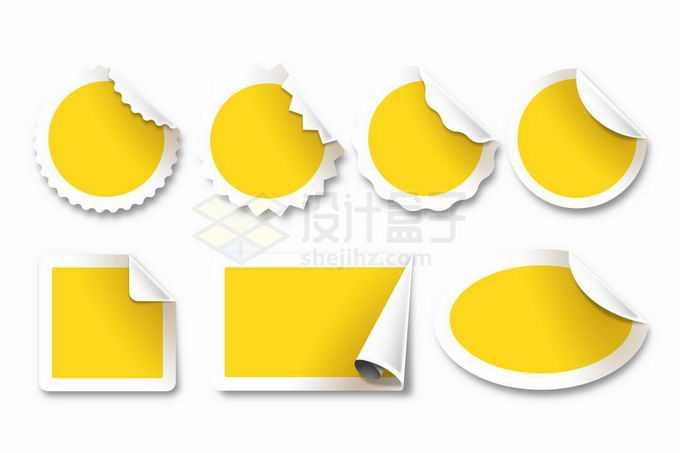 掀起一角的各种形状的黄色贴纸标签纸4406844矢量图片免抠素材免费下载