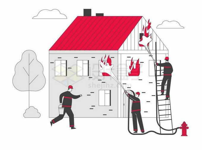 正在为着火的房子灭火的消防员宣传插画8203946矢量图片免抠素材免费下载