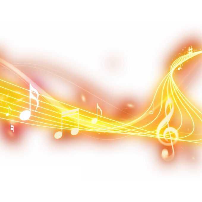 跳动的黄色音乐音符发光五线谱效果3670458免抠图片素材