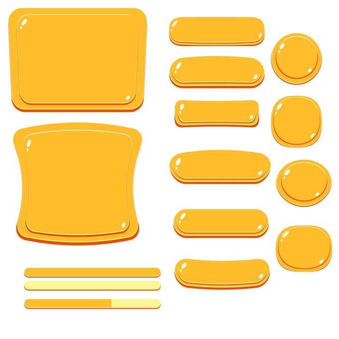 各种大小和形状的卡通橙色按钮游戏按钮网页按钮1238442免抠图片素材免费下载
