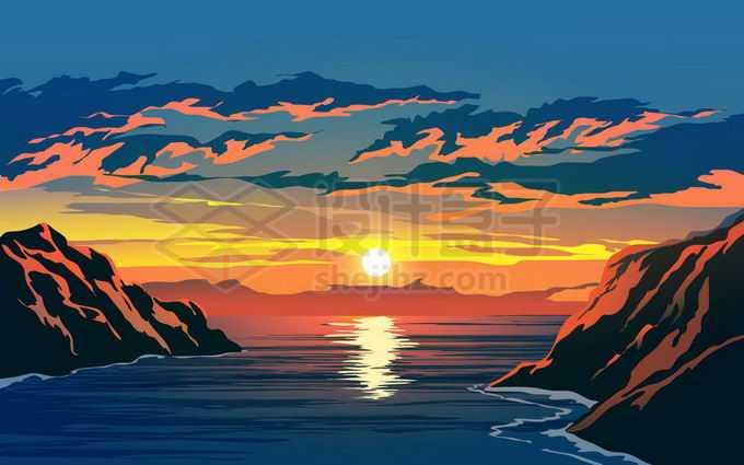 海湾上的夕阳余晖风景图9101380矢量图片免抠素材