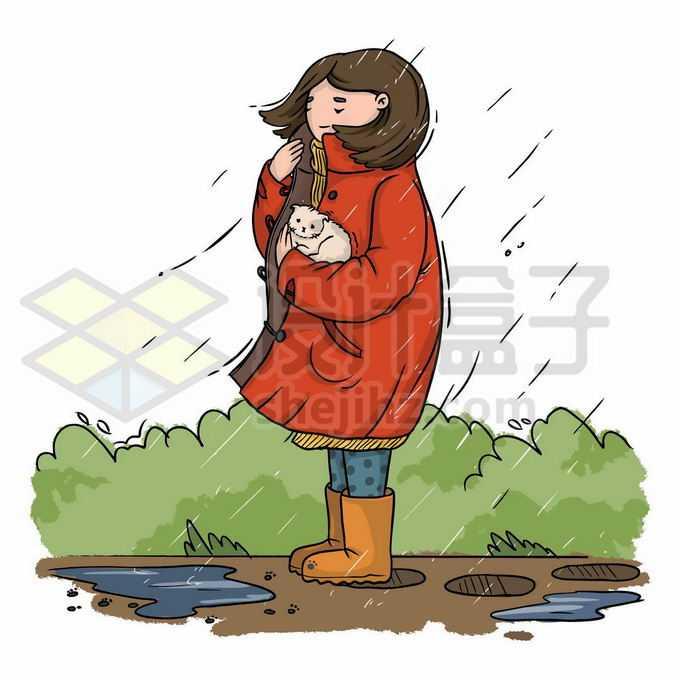 在风雨中被吹得瑟瑟发抖的红衣服女孩怀里抱着猫咪手绘插画2451802矢量图片免抠素材免费下载