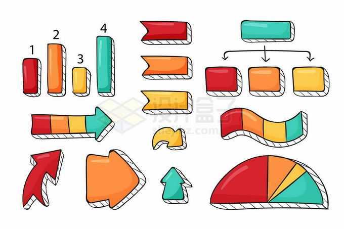彩色手绘风格柱形图步骤图箭头组织结构图等卡通PPT信息图表6665087矢量图片免抠素材免费下载
